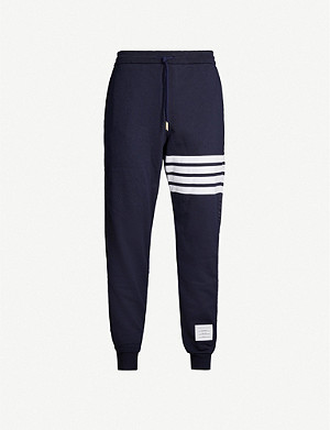 THOM BROWNE Striped logo-patch cotton-jersey jogging bottoms