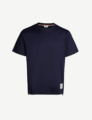 THOM BROWNE Stripe-trimmed cotton-jersey T-shirt