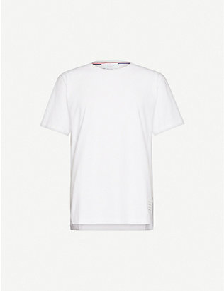 THOM BROWNE: Stripe-trimmed cotton-jersey T-shirt