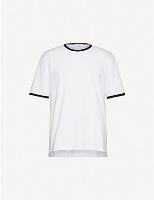 THOM BROWNE: Ringer crewneck cotton-jersey T-shirt
