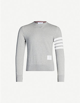 THOM BROWNE: Stripe-detail cotton-jersey sweatshirt