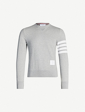 THOM BROWNE Stripe-detail cotton-jersey sweatshirt