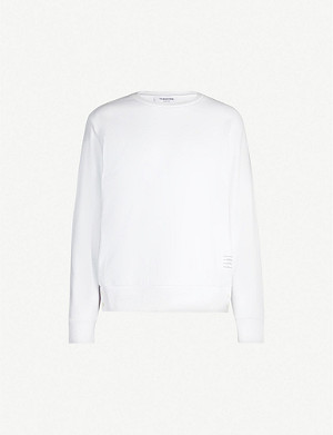 THOM BROWNE Logo-taping cotton-jersey sweatshirt