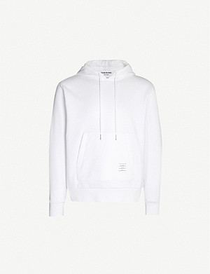 THOM BROWNE Striped long-sleeved cotton-jersey hoody