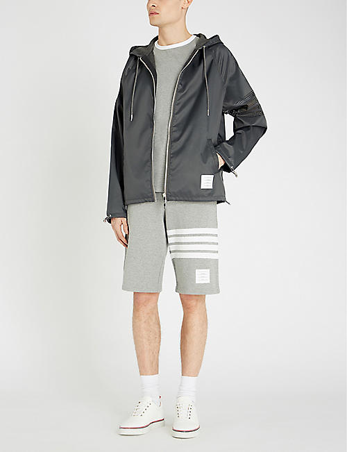 THOM BROWNE Striped-sleeve shell hooded jacket