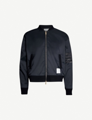 THOM BROWNE Striped-sleeve shell bomber jacket