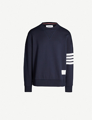 THOM BROWNE Stripe-trimmed cotton-jersey sweatshirt