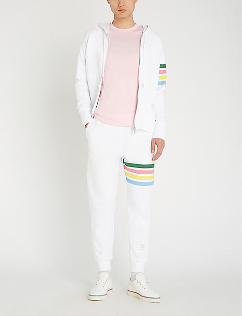 THOM BROWNE Rainbow-striped cotton-jersey hoody
