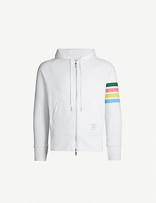 a741dff754c4 THOM BROWNE Rainbow-striped cotton-jersey hoody