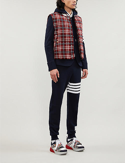 THOM BROWNE Striped slim-fit cotton-jersey jacket
