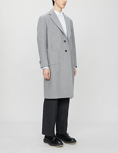 THOM BROWNE Striped long-sleeved crewneck wool jumper