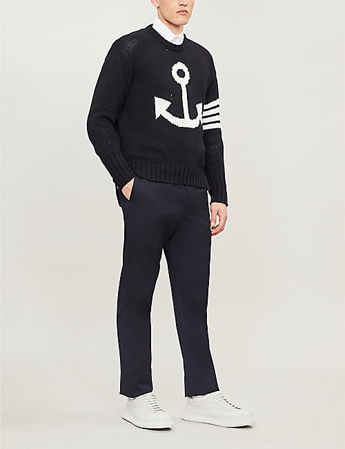THOM BROWNE Graphic-intarsia cotton-knit jumper