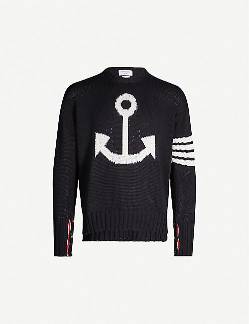 f0dcc12f90311 THOM BROWNE Graphic-intarsia cotton-knit jumper
