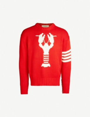 THOM BROWNE Lobster-intarsia cotton-knit jumper