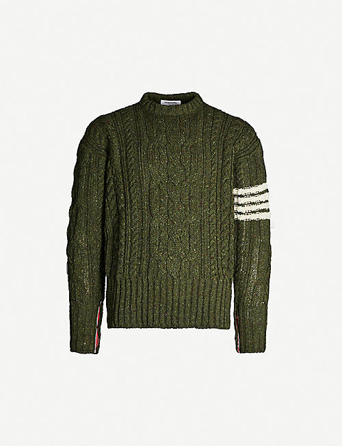 THOM BROWNE Cable-knit wool and mohair jumper