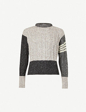THOM BROWNE Cable-knit wool and mohair-blend jumper