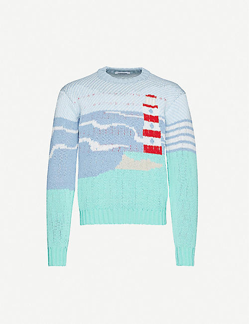 THOM BROWNE Lighthouse intarsia cotton-knit jumper