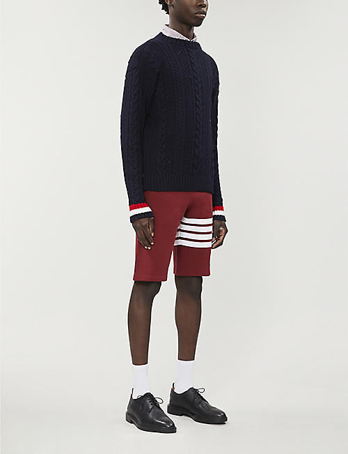 THOM BROWNE Cable-knit wool jumper