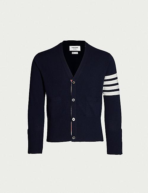 86e043464c9 THOM BROWNE Signature-stripe cashmere cardigan