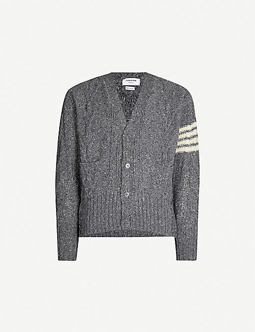 7e1a04231460e9 THOM BROWNE Cable-knit wool and mohair-blend cardigan