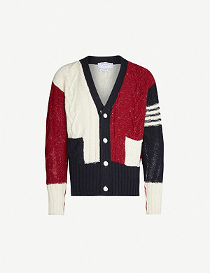 THOM BROWNE Colour-blocked wool and mohair-blend cardigan
