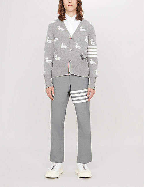 THOM BROWNE 4-bar graphic-print cashmere and cotton-blend cardigan