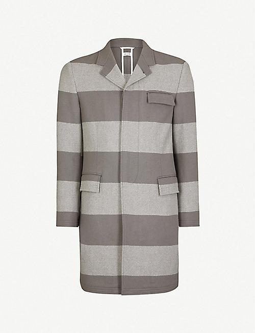 afbcb7540b9 ... Black wool blend collared Epsom coat  los angeles befab 78d6a THOM  BROWNE Striped single-breasted wool coat  super popular 29365 0e8db R582 HUGO  BOSS ...