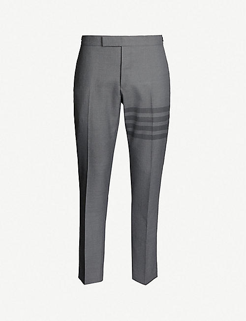 131e017afc30 THOM BROWNE Stripe-trimmed slim-fit straight wool-blend trousers