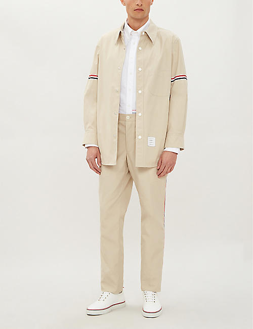 THOM BROWNE Striped-side slim-fit cotton-blend chinos