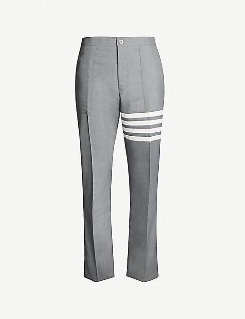 ac83a23de12d THOM BROWNE Stripe-detail slim-fit wool-blend trousers