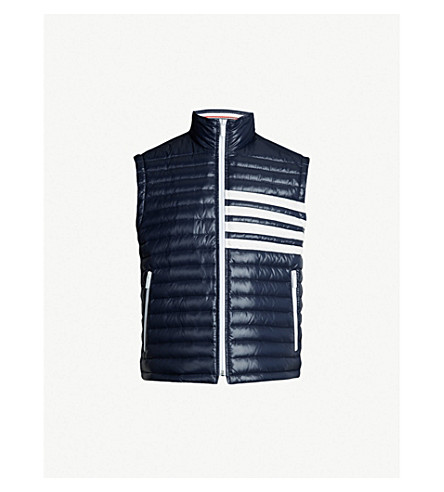 08d32195db THOM BROWNE - Contrast striped quilted shell-down jacket ...