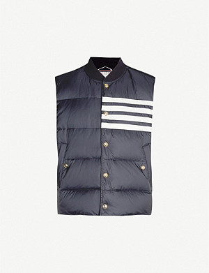 THOM BROWNE 4-bar sleeveless padded shell-down gilet