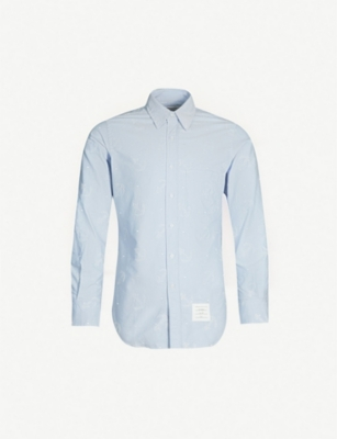 THOM BROWNE Anchor-pattern regular-fit cotton-twill shirt