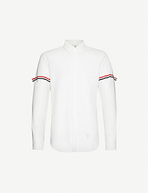 THOM BROWNE Stripe-trimmed cotton-piqué shirt