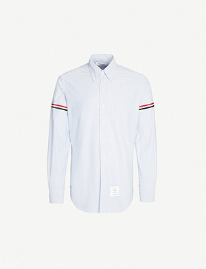 THOM BROWNE Striped-sleeve regular-fit cotton shirt