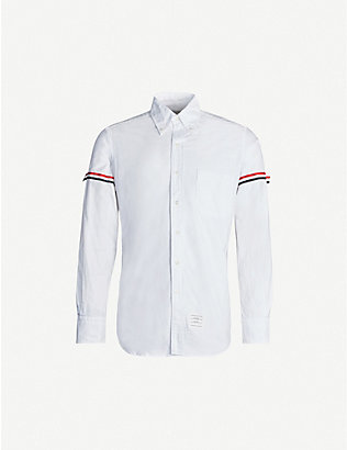 THOM BROWNE: Striped-sleeve regular-fit cotton shirt