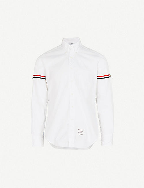 THOM BROWNE Signature-stripe regular-fit cotton-twill poplin shirt