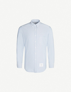THOM BROWNE Oxford regular-fit branded-neckline cotton shirt
