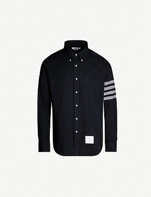 THOM BROWNE Logo-print regular-fit cotton-flannel shirt