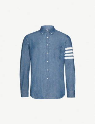 THOM BROWNE Signature striped-sleeve regular-fit cotton shirt