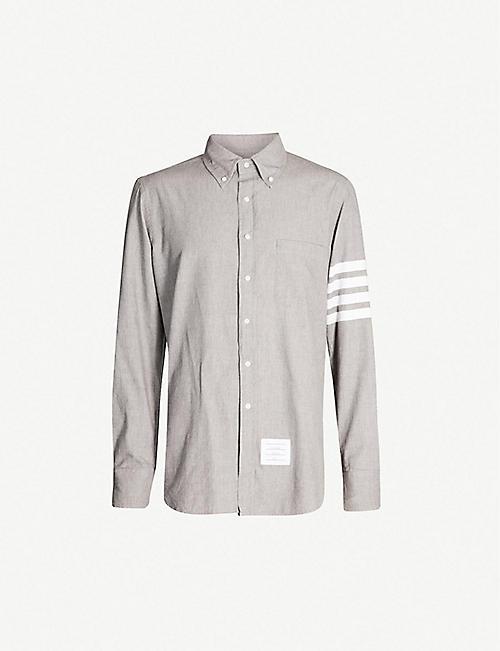 bb38bca90db THOM BROWNE Signature striped-sleeve regular-fit cotton shirt