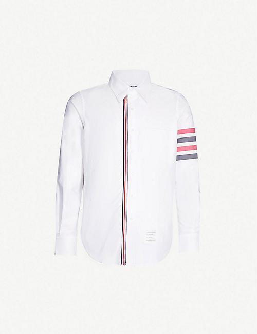 9ec6d961a280 THOM BROWNE Striped-trim regular-fit cotton-twill shirt