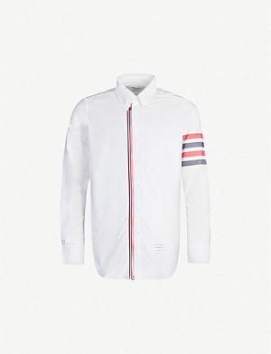 THOM BROWNE Striped-trim regular-fit cotton-twill shirt