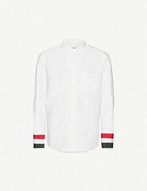 THOM BROWNE Stripe-trimmed slim-fit cotton shirt