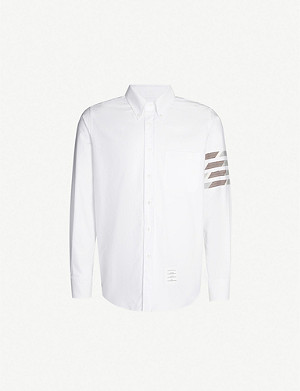 THOM BROWNE Oxford regular-fit camouflage-stripe cotton-blend shirt