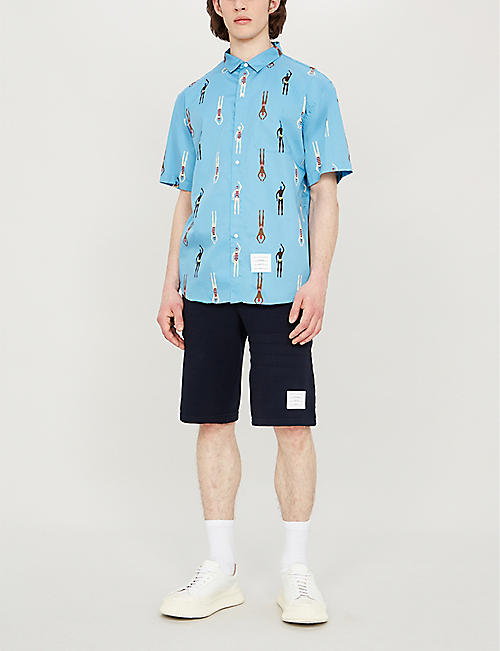THOM BROWNE Swimmer-print regular-fit cotton-poplin shirt