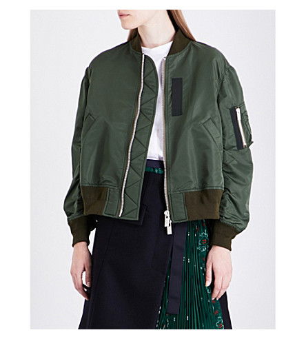 Pleat-Back Oversized Ma-1 Bomber Jacket in 501- Khaki