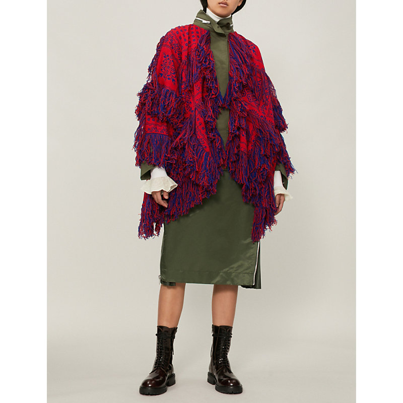 Floral-Pattern Fringed Wool Jacket in Red