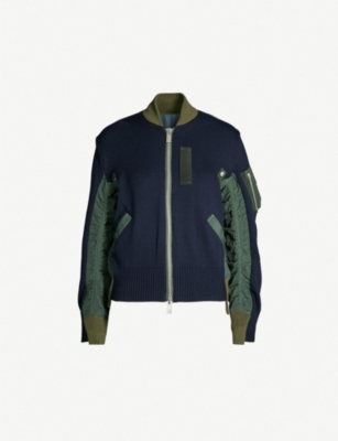 SACAI Hybrid cotton and shell bomber jacket