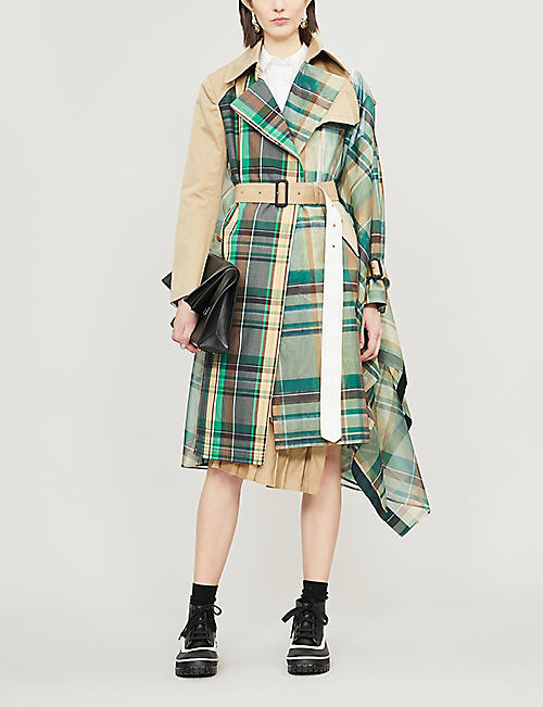 SACAI Asymmetric organza trench coat